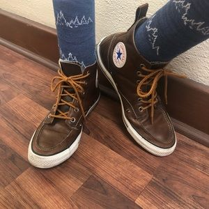 Men's size 8 Brown Leather Converse Hightops